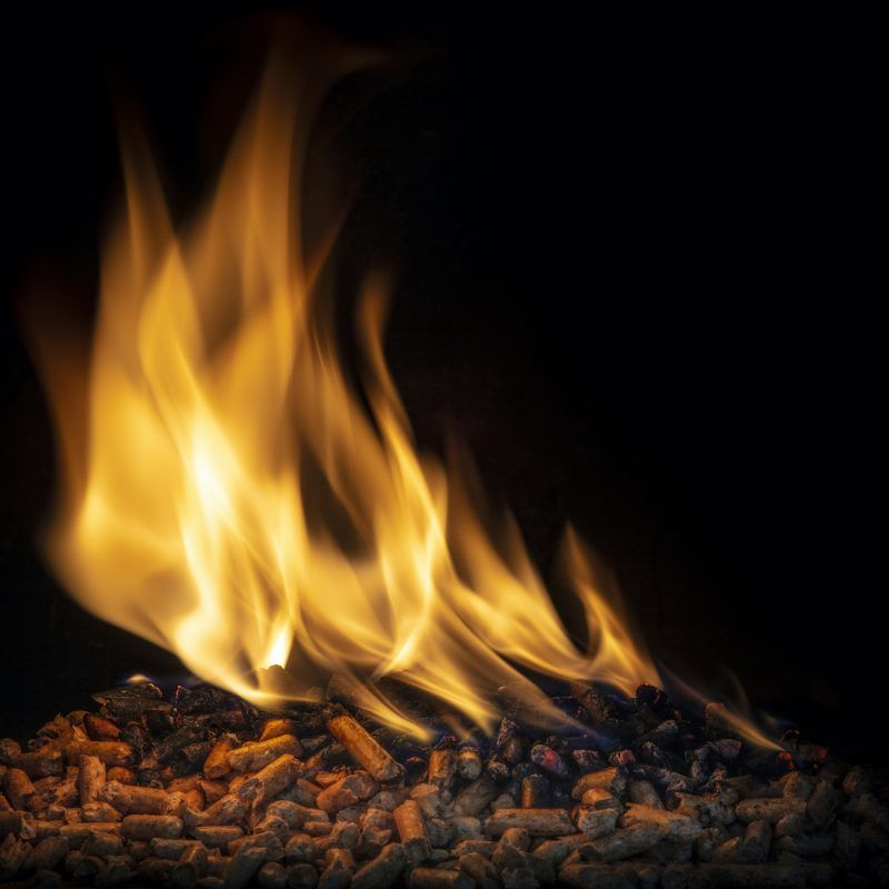 burning wood pellets, living flame and clearly visible. concept of biomass and alternative and natural fuel.